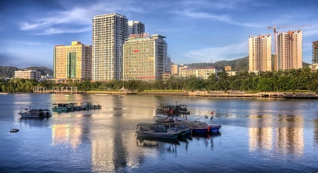 Hainan, China, City, Buildings, Architecture, River