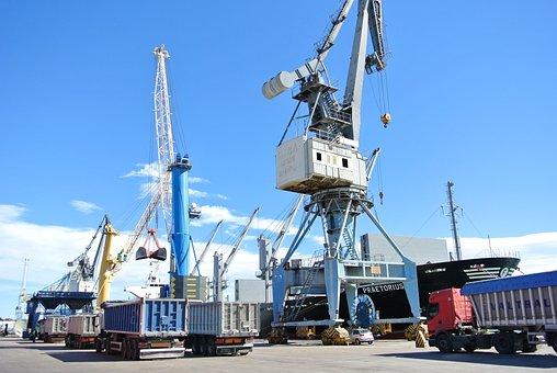 Ship, Load, Stowage, Port Of Sagunto, Crane, Truck