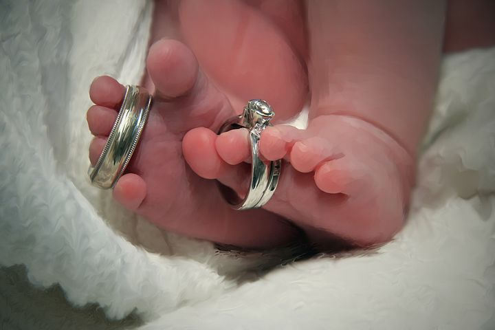 Wedding, Rings, Baby, Newborn, Infant, Toes, Parent