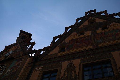 Town Hall, Ulm, Facade, Painting, Ulmer Hall, Frescoes