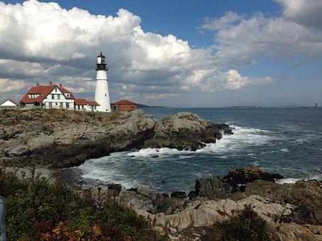 Maine, Lighthouse, Coastline, Atlantic, Scenic