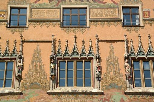 Town Hall, Ulm, Window, Facade, Painting, Ulmer Hall