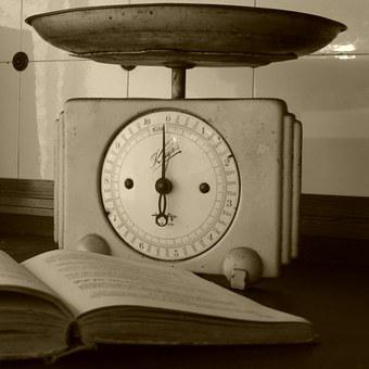 Horizontal, Kitchen Scale, Antique, Weigh