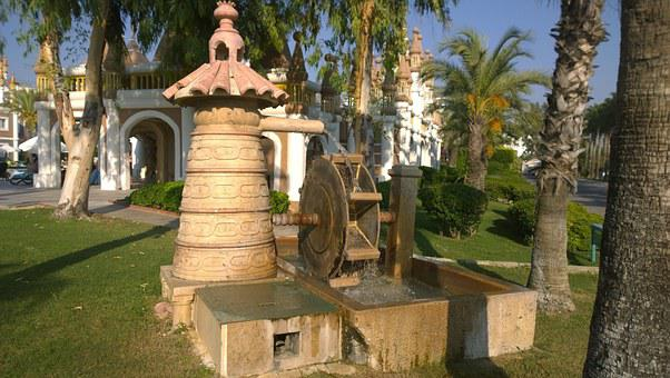 Fountain, Waterwheel, Water, Palm, Building, Away