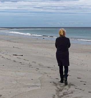 Woman, Walking, Beach, Alone, Sand, Sea, Water