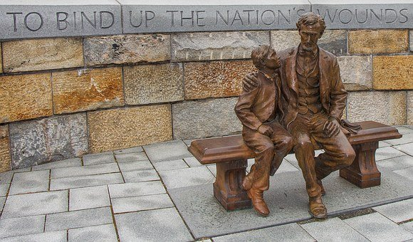 Abraham Lincoln, Bronze Statue, Virginia, Bind Wound