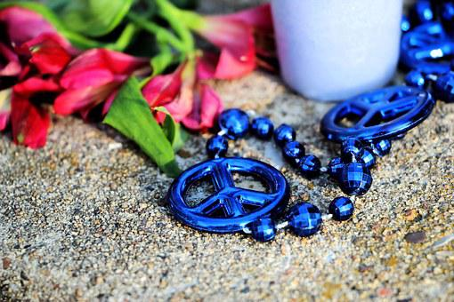 Peace, Blue, Necklace, Love, Healing, Protest, Flowers
