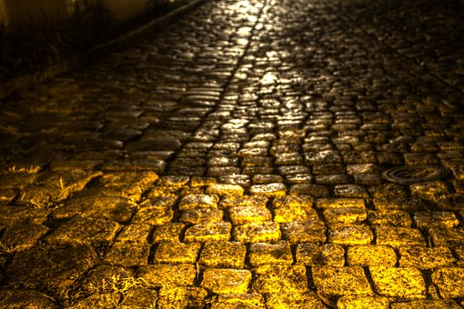 Alleyway, City Living, Dark, Unlit Alley, Cobblestone