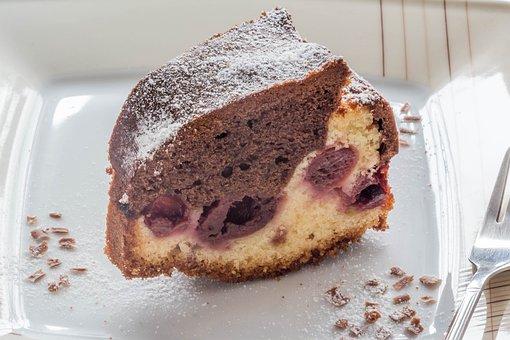 Cake, Marble Cake, Cherries, Dessert, Dough, Brown