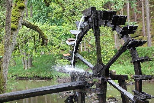 Bach, Mill, Water, Forest, Waterwheel, River, Idyllic