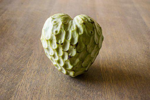 Custard Apple, Fruit, Heart, Green, Valentine