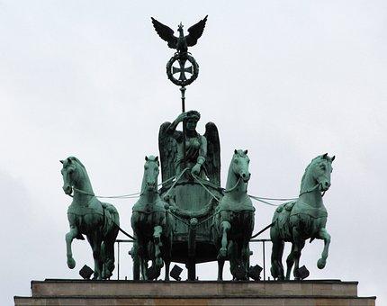 Brandenburg Gate, Quadriga, Horses, Tourist Attraction