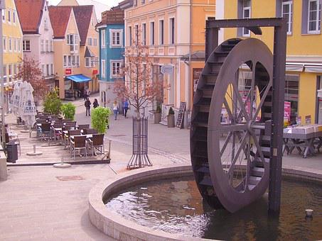 Kempten, Mill Wheel, Waterwheel, Fountain, Sculpture