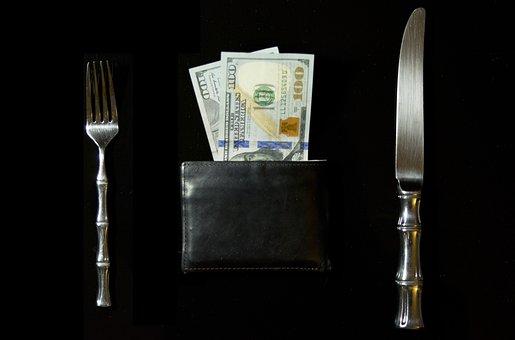 Money, Cash, Earnings, Food, Wallet, Fork, Knife, Dine