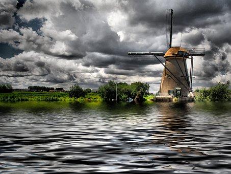 Windmill, Clouds, Water, Landscape, Flour Mill, Wind