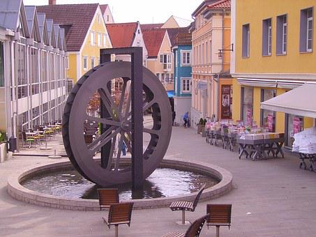 Kempten, Mühlenviertel, Mill Wheel, Pedestrian Zone