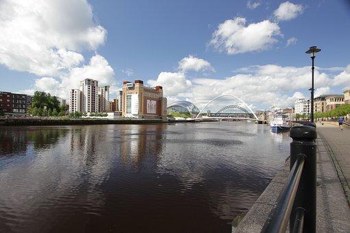 River, Tyne, Newcastle, England, Bridge, Water, North