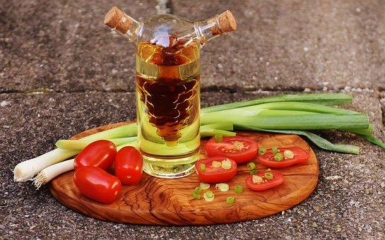 Vinegar, Oil, Tomatoes, Onions, Spring Onions, Food