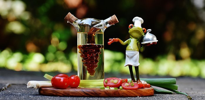 Frog, Cooking, Vinegar, Oil, Tomatoes, Onions