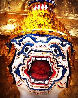 Giant, Isolated, Thailand, Sculpture, Ravana, Guard