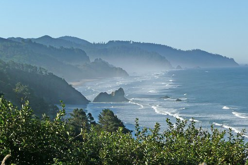 Coast, Shoreline, Oregon, Usa, Vista, View, Beach