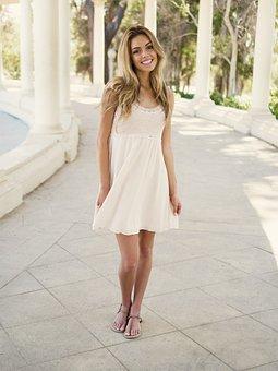 Woman, Girl, Beautiful, Smiling, White, Short, Dress