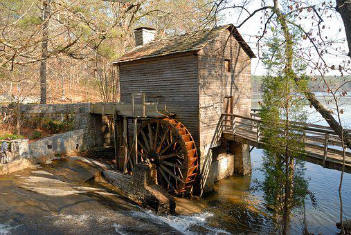 Grist Mill, Historic, Mill, Rural, Stone Mountain