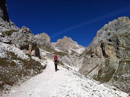 Trekkking, Mountain, Blue, Sky, Landscape, Rock