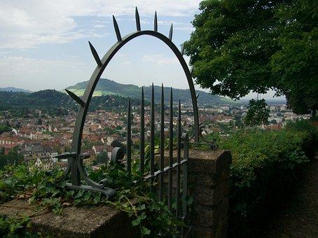 Freiburg, Schlossberg, View, Wall, Iron Gate, Pointed
