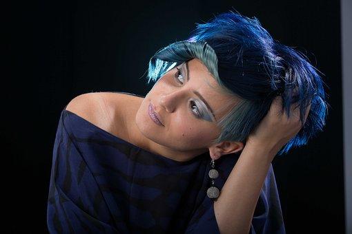 Colorimetry, Hair, Models, Woman, Face, Blue Hair