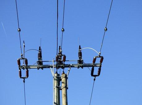 Pylon, Electricity, High Voltage, Powerlines, Blue Sky