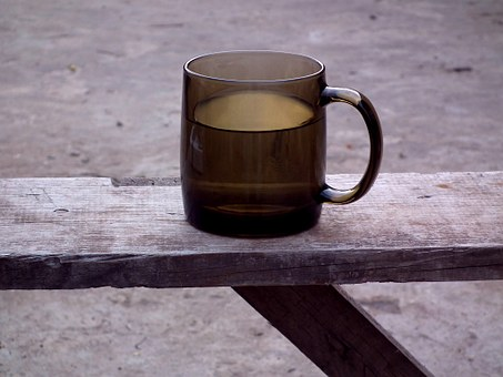 Drink, Mug, Water, Bench, Glass, Brown, Grey, Old