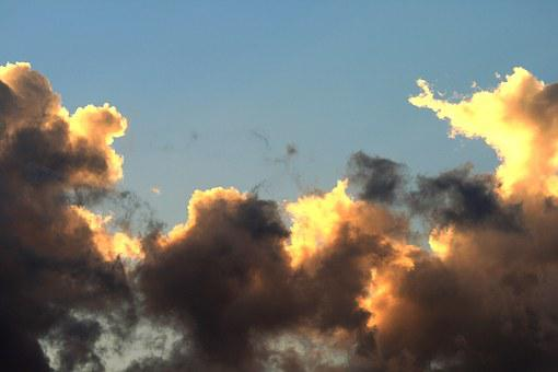Clouds, Loose, Light, Yellow, Gold, Shaded, Sky, Blue