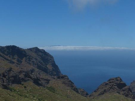 View, La Reptiles, Mountains, Sea, Clouds, Island