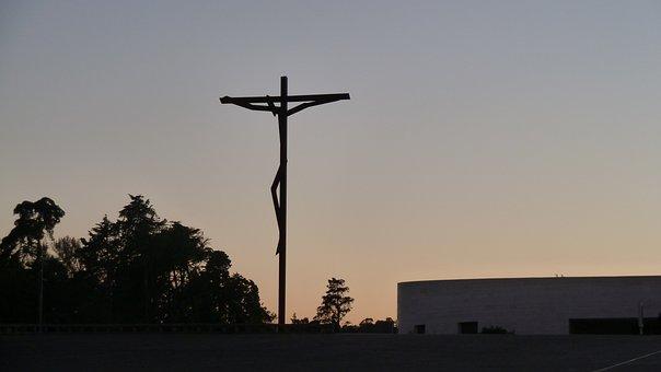 Sunset, Silhouette, Crucifix, Statue, Fatima, Portugal