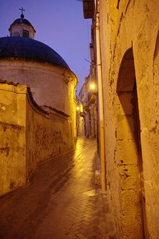 Italy, Sicily, Modica, Evening, Twilight, Old Town