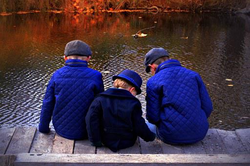 Boys, Autumn, Fall, River, Nature, Blue, Happiness