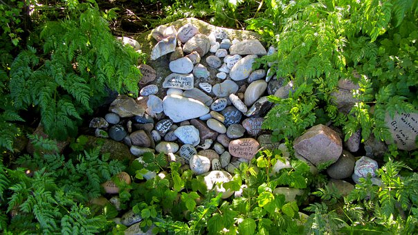 Inscribed Stone, Logbook, Geocache, Pebbles
