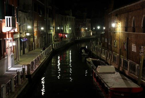Channel, Boot, Homes, Night, Light, Romantic