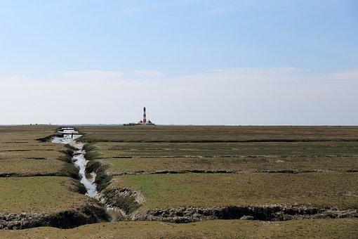 Lighthouse, Westerhever, Salt Meadow