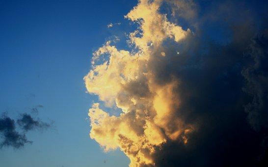 Cloud, Loose, Lit, Bright, Sunlight, White, Yellow