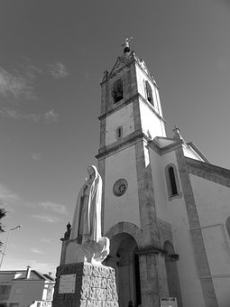 Portugal, Fatima, Church, Black And White, Statue