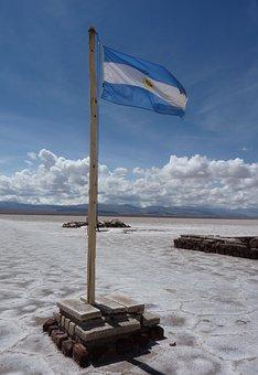 Argentine, Flag, Salt Lake, Landscape, Scenery, Natural