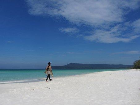 Beach, Sand, Sea, Coast, Blue, White, Walking, Koh Rong