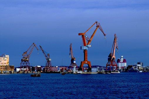 Port, Cranes, Industrial, Boatyard, Water, Coastal