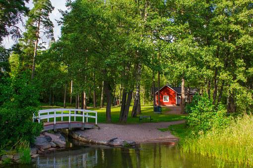 Village, House, Forest, Bridge, Farm, Sunny Day