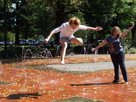 Fountains, Friends, Frolicking, Jumping, Portland