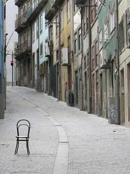 Porto, Chair, Alley, Vintage, City, Portugal, Front