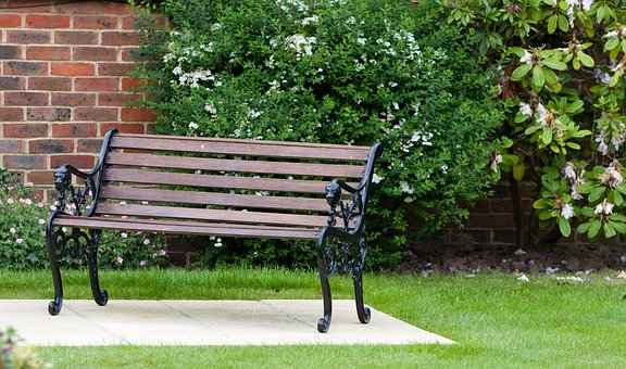 Garden, Bench, Seat, Wood, Wooden, Wrought Iron, Iron