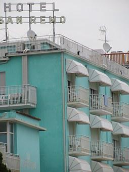 Hotel, San Remo, Italy, Holiday, Turquoise
